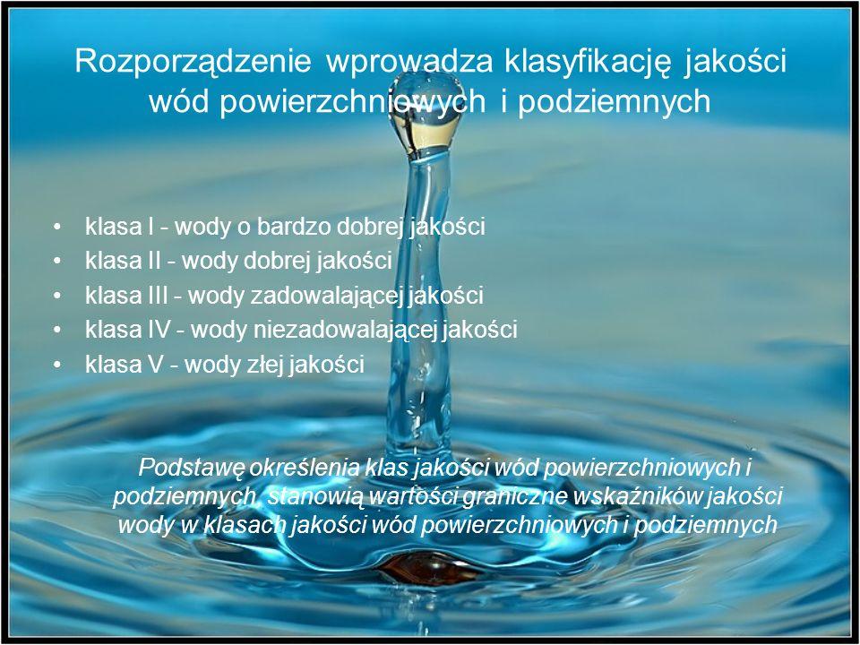 Rozporządzenie wprowadza klasyfikację jakości wód powierzchniowych i podziemnych klasa I - wody o bardzo dobrej jakości klasa II - wody dobrej jakości