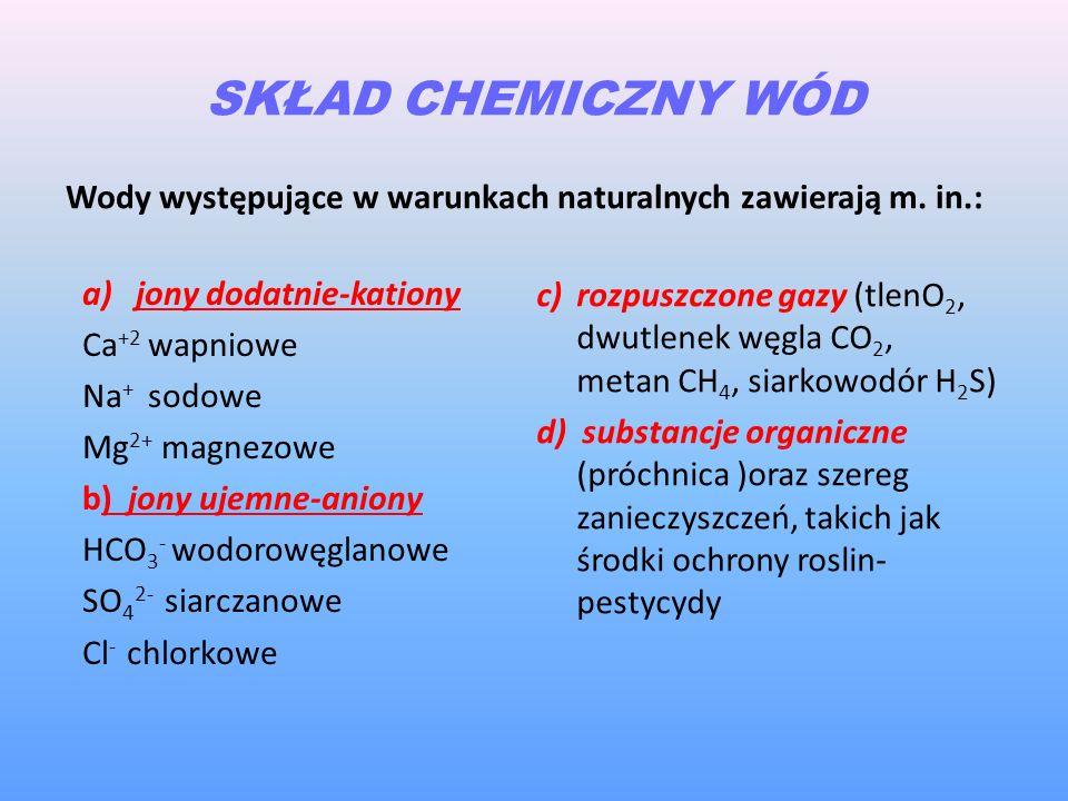SKŁAD CHEMICZNY WÓD Wody występujące w warunkach naturalnych zawierają m. in.: a)jony dodatnie-kationy Ca +2 wapniowe Na + sodowe Mg 2+ magnezowe b) j
