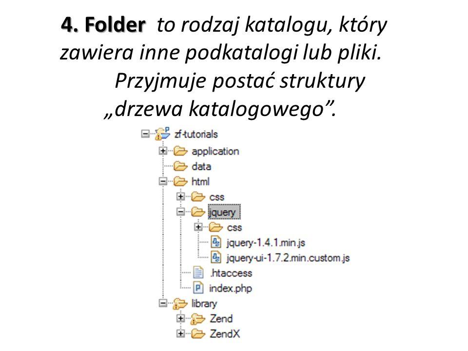 4. Folder 4. Folder to rodzaj katalogu, który zawiera inne podkatalogi lub pliki. Przyjmuje postać struktury drzewa katalogowego.