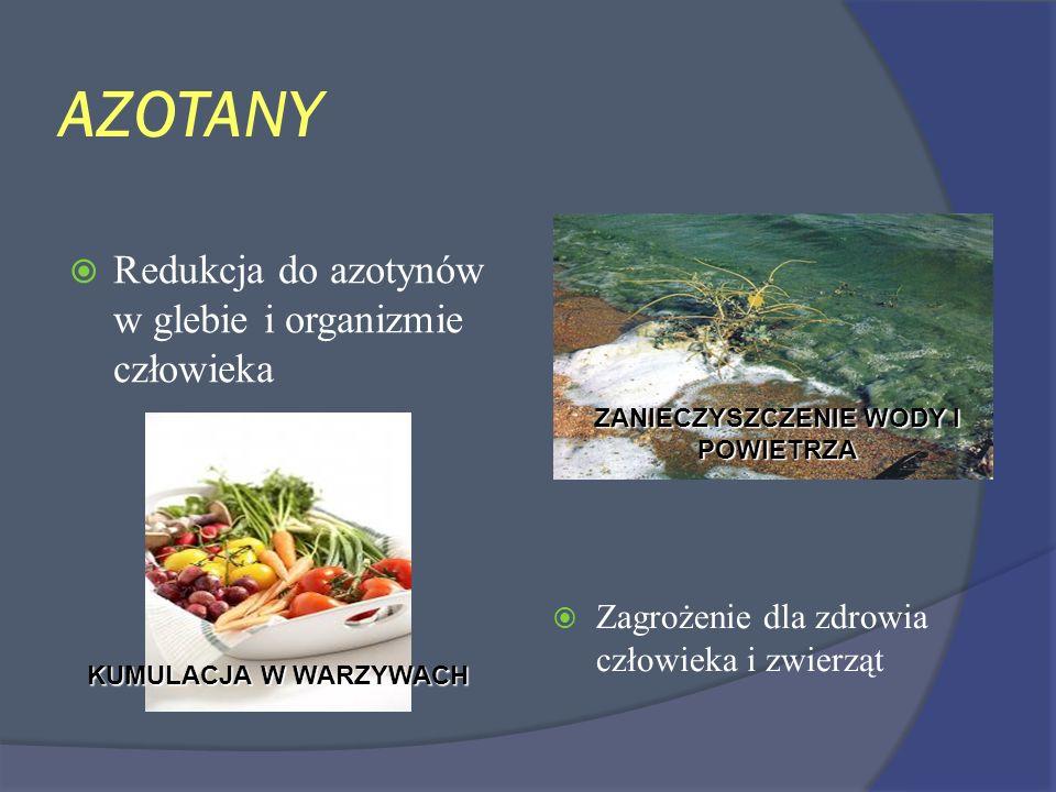 AZOTANY Zagrożenie dla zdrowia człowieka i zwierząt Redukcja do azotynów w glebie i organizmie człowieka ZANIECZYSZCZENIE WODY I POWIETRZA KUMULACJA W