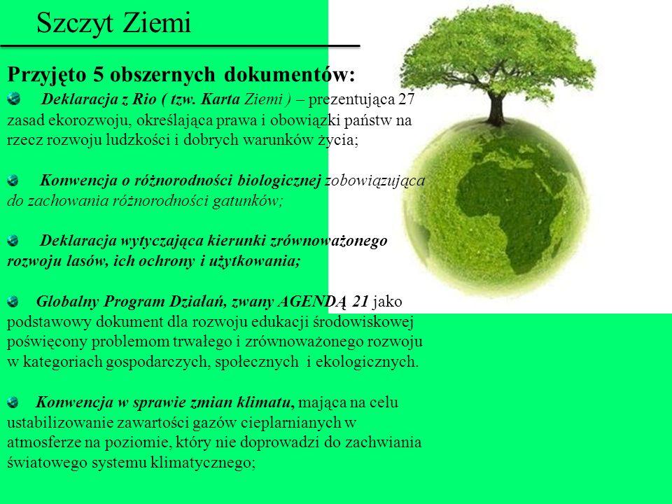 Szczyt Ziemi Przyjęto 5 obszernych dokumentów: Deklaracja z Rio ( tzw. Karta Ziemi ) – prezentująca 27 zasad ekorozwoju, określająca prawa i obowiązki