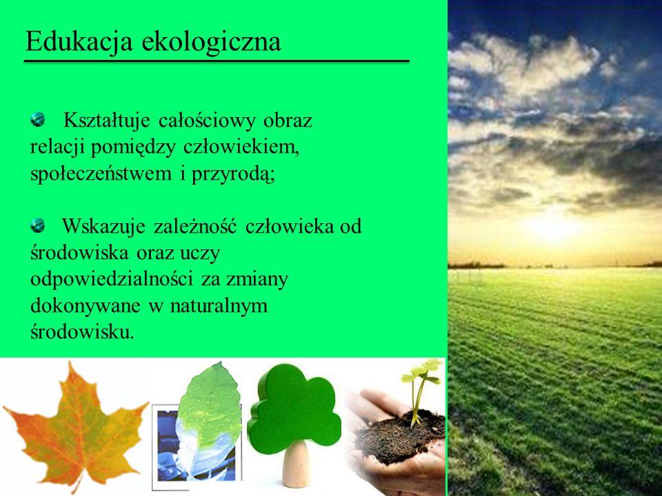 Kształtuje całościowy obraz relacji pomiędzy człowiekiem, społeczeństwem i przyrodą; Wskazuje zależność człowieka od środowiska oraz uczy odpowiedzial