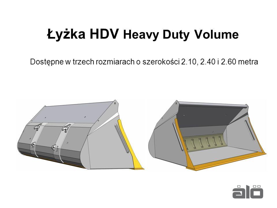 Łyżka HDV Heavy Duty Volume Dostępne w trzech rozmiarach o szerokości 2.10, 2.40 i 2.60 metra