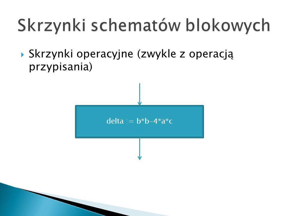 Skrzynki operacyjne (zwykle z operacją przypisania) delta := b*b-4*a*c