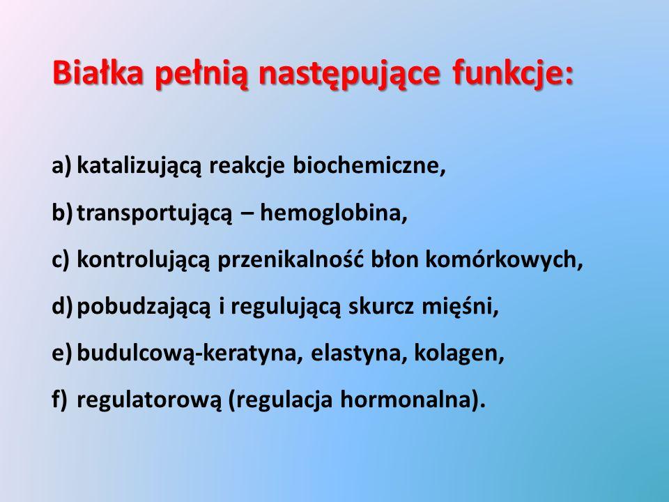 Białka pełnią następujące funkcje: a)katalizującą reakcje biochemiczne, b)transportującą – hemoglobina, c)kontrolującą przenikalność błon komórkowych, d)pobudzającą i regulującą skurcz mięśni, e)budulcową-keratyna, elastyna, kolagen, f)regulatorową (regulacja hormonalna).