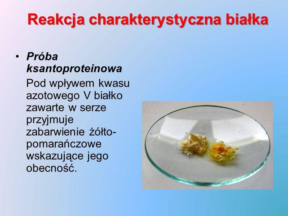 Reakcja charakterystyczna białka Próba ksantoproteinowa Pod wpływem kwasu azotowego V białko zawarte w serze przyjmuje zabarwienie żółto- pomarańczowe wskazujące jego obecność.