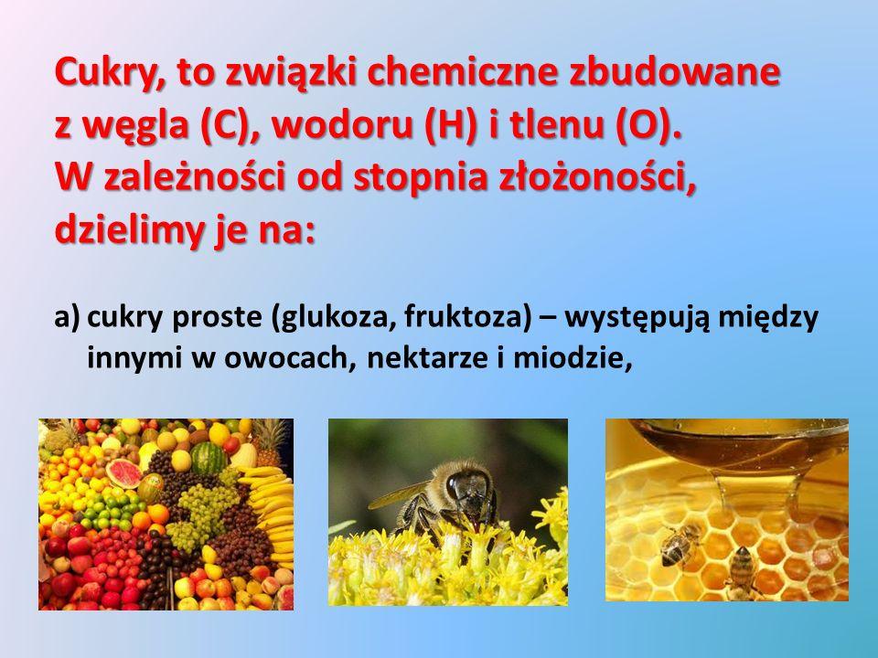 c)dwucukry (sacharoza – cukier buraczany, laktoza – cukier mleczny), powstają w wyniku łączenia się dwóch cząsteczek cukrów prostych np.: sacharoza(glukoza+fruktoza) laktoza(glukoza+galaktoza)