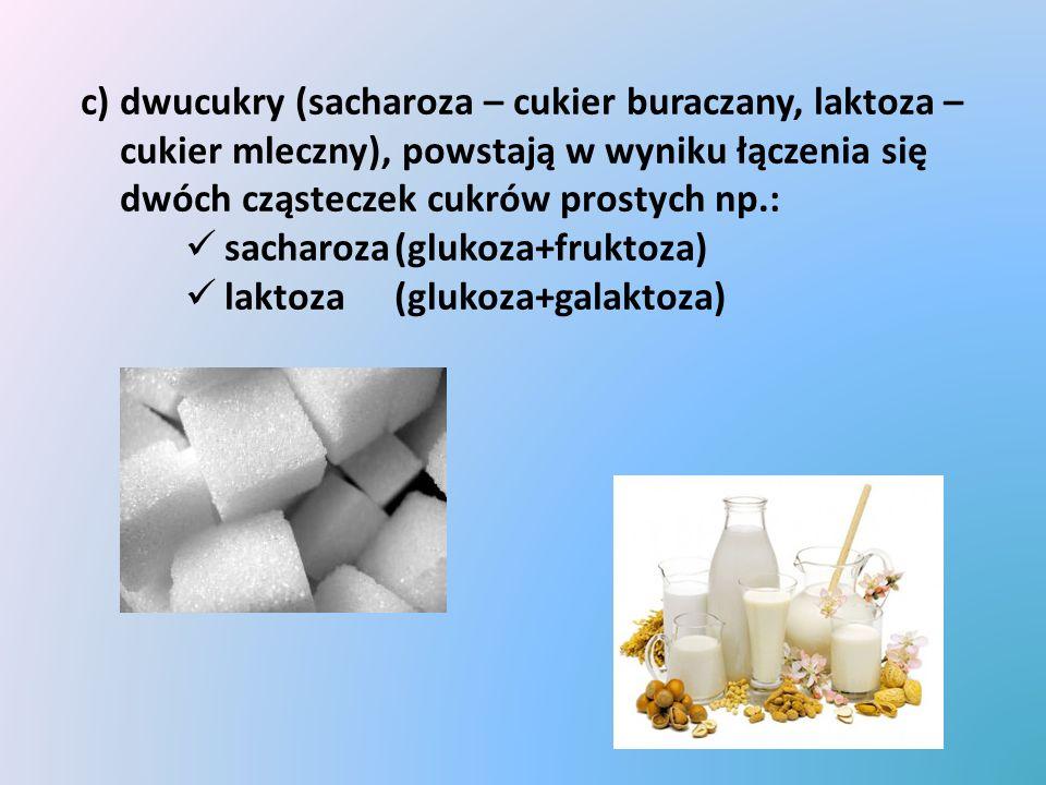 c)wielocukry (skrobia, błonnik, glikogen, chityna), to cukry zbudowane z setek, a nawet tysięcy cząsteczek cukrów prostych