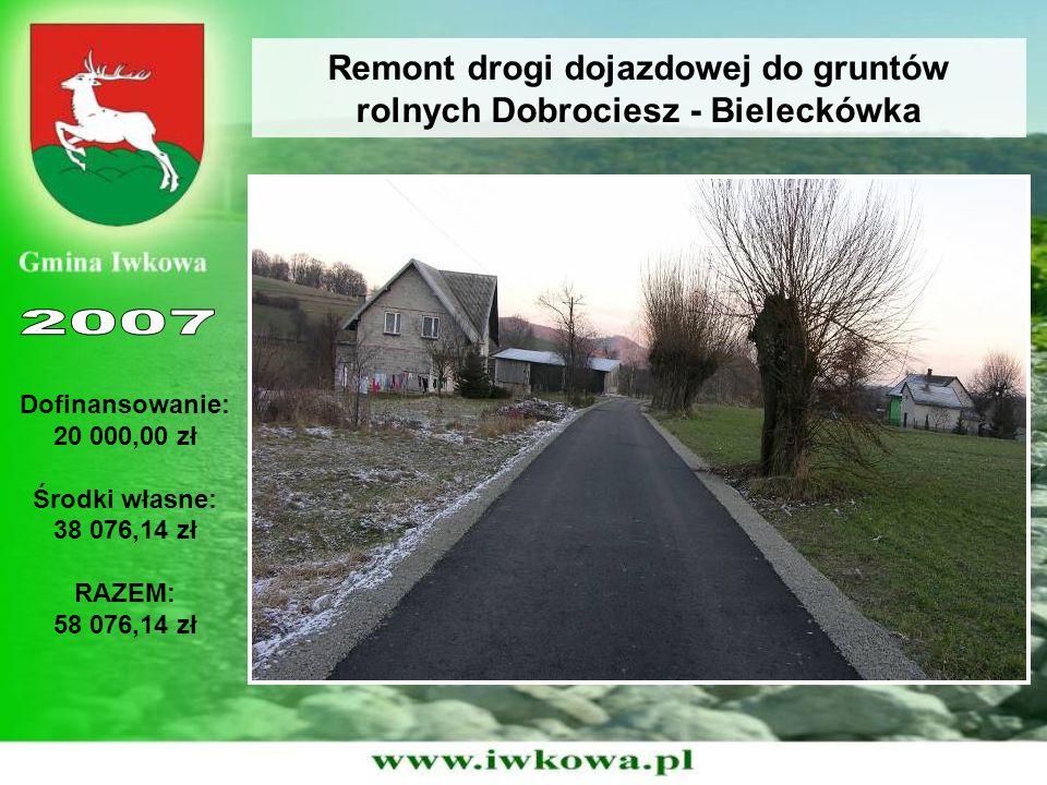 Remont drogi dojazdowej do gruntów rolnych Dobrociesz - Bieleckówka Dofinansowanie: 20 000,00 zł Środki własne: 38 076,14 zł RAZEM: 58 076,14 zł