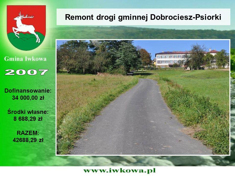 Remont drogi gminnej Dobrociesz-Psiorki Dofinansowanie: 34 000,00 zł Środki własne: 8 688,29 zł RAZEM: 42688,29 zł