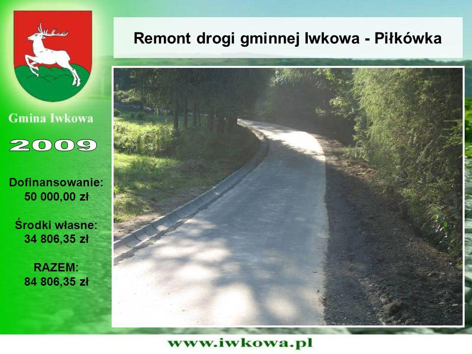 Remont drogi gminnej Iwkowa - Piłkówka Dofinansowanie: 50 000,00 zł Środki własne: 34 806,35 zł RAZEM: 84 806,35 zł