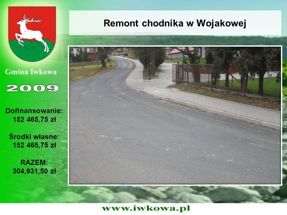 Remont chodnika w Wojakowej Dofinansowanie: 152 465,75 zł Środki własne: 152 465,75 zł RAZEM: 304,931,50 zł