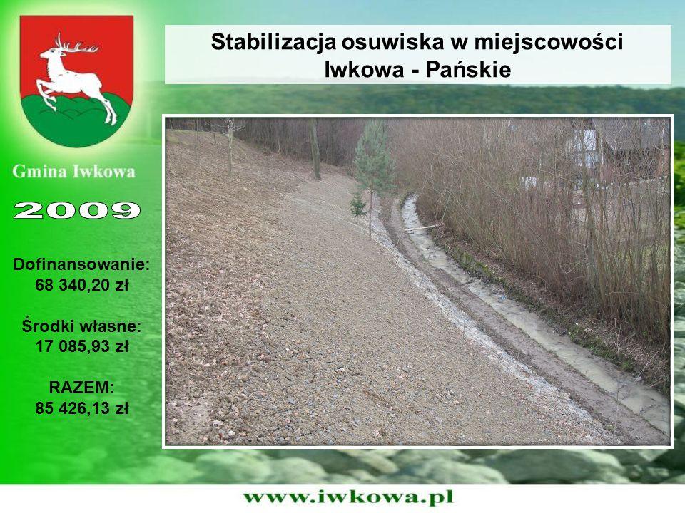 Stabilizacja osuwiska w miejscowości Iwkowa - Pańskie Dofinansowanie: 68 340,20 zł Środki własne: 17 085,93 zł RAZEM: 85 426,13 zł