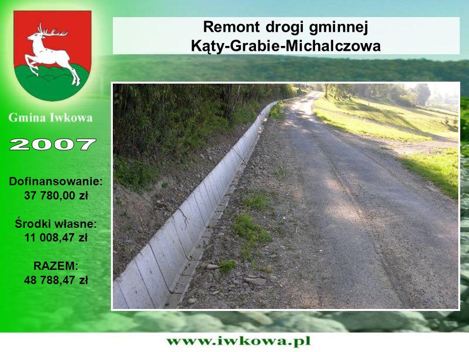 Remont drogi gminnej Kąty-Grabie-Michalczowa Dofinansowanie: 37 780,00 zł Środki własne: 11 008,47 zł RAZEM: 48 788,47 zł