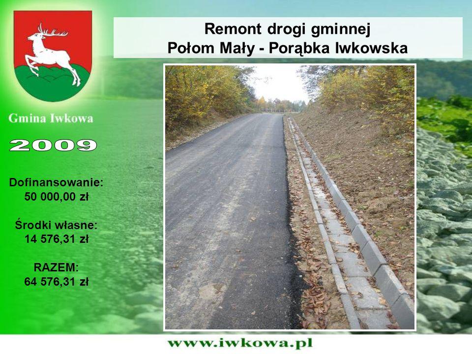 Remont drogi gminnej Połom Mały - Porąbka Iwkowska Dofinansowanie: 50 000,00 zł Środki własne: 14 576,31 zł RAZEM: 64 576,31 zł