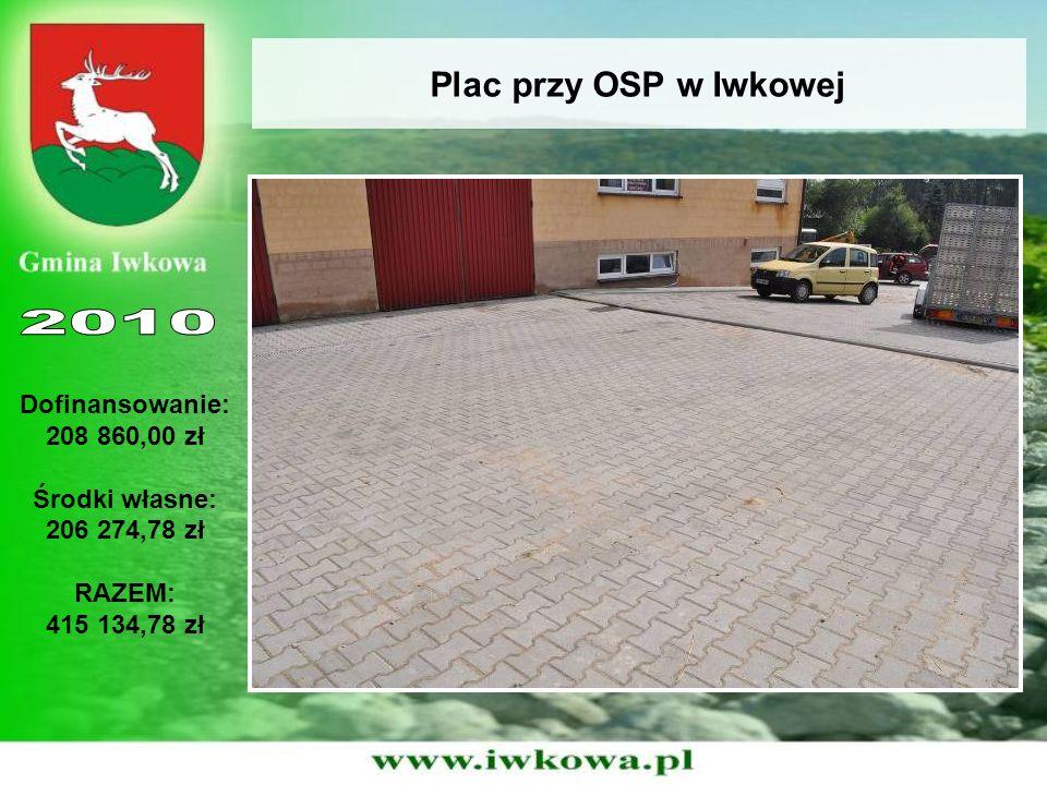 Plac przy OSP w Iwkowej Dofinansowanie: 208 860,00 zł Środki własne: 206 274,78 zł RAZEM: 415 134,78 zł