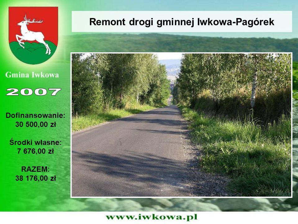 Remont drogi gminnej Iwkowa-Pagórek Dofinansowanie: 30 500,00 zł Środki własne: 7 676,00 zł RAZEM: 38 176,00 zł