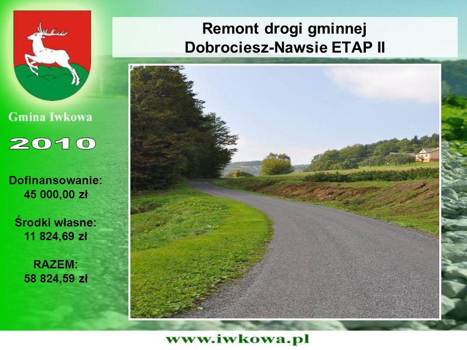 Remont drogi gminnej Dobrociesz-Nawsie ETAP II Dofinansowanie: 45 000,00 zł Środki własne: 11 824,69 zł RAZEM: 58 824,59 zł