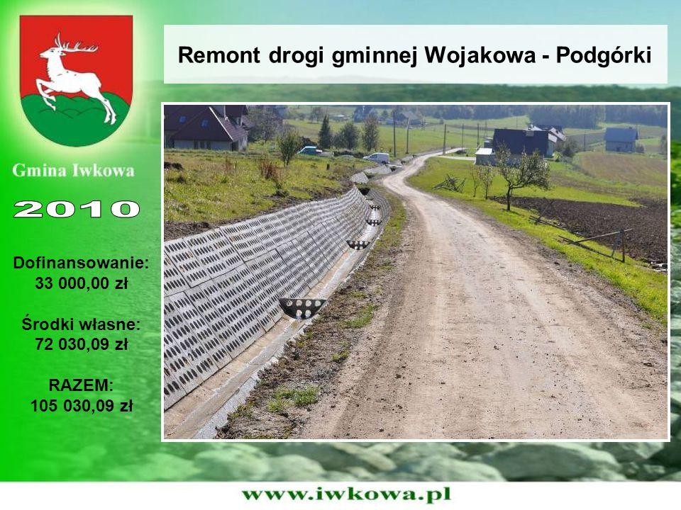 Remont drogi gminnej Wojakowa - Podgórki Dofinansowanie: 33 000,00 zł Środki własne: 72 030,09 zł RAZEM: 105 030,09 zł