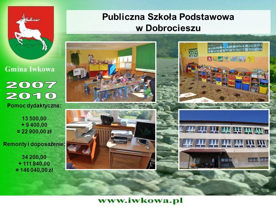 Publiczna Szkoła Podstawowa w Dobrocieszu Pomoc dydaktyczna: 13 500,00 + 9 400,00 = 22 900,00 zł Remonty i doposażenie: 34 200,00 + 111 840,00 = 146 0