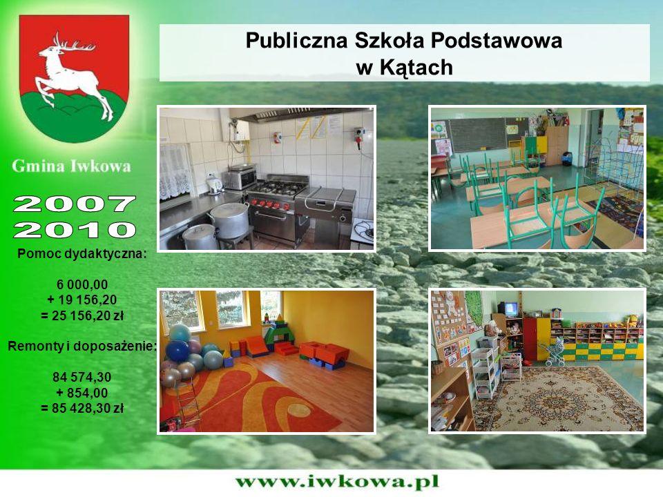 Publiczna Szkoła Podstawowa w Kątach Pomoc dydaktyczna: 6 000,00 + 19 156,20 = 25 156,20 zł Remonty i doposażenie: 84 574,30 + 854,00 = 85 428,30 zł