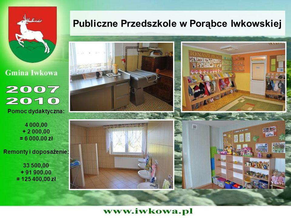 Publiczne Przedszkole w Porąbce Iwkowskiej Pomoc dydaktyczna: 4 000,00 + 2 000,00 = 6 000,00 zł Remonty i doposażenie: 33 500,00 + 91 900,00 = 125 400