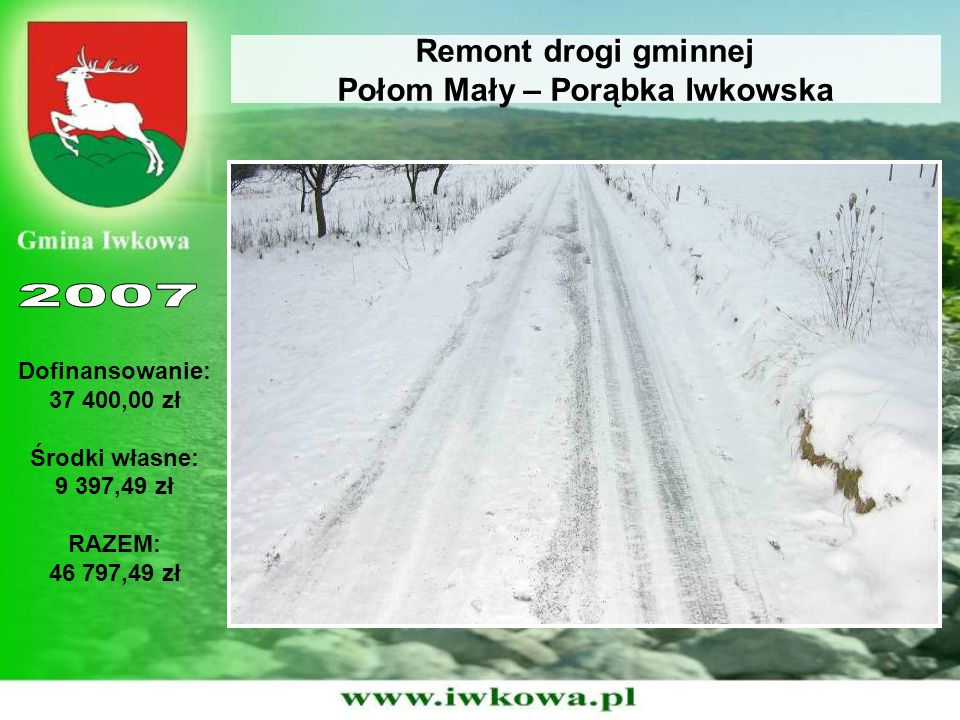 Remont drogi gminnej Połom Mały – Porąbka Iwkowska Dofinansowanie: 37 400,00 zł Środki własne: 9 397,49 zł RAZEM: 46 797,49 zł