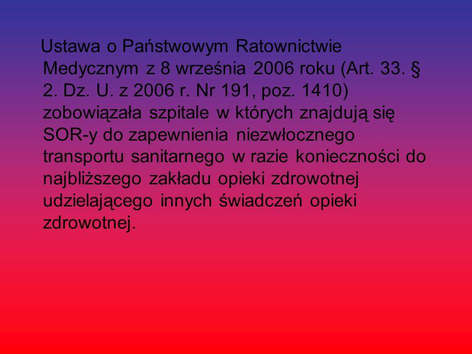 Ustawa o Państwowym Ratownictwie Medycznym z 8 września 2006 roku (Art. 33. § 2. Dz. U. z 2006 r. Nr 191, poz. 1410) zobowiązała szpitale w których zn