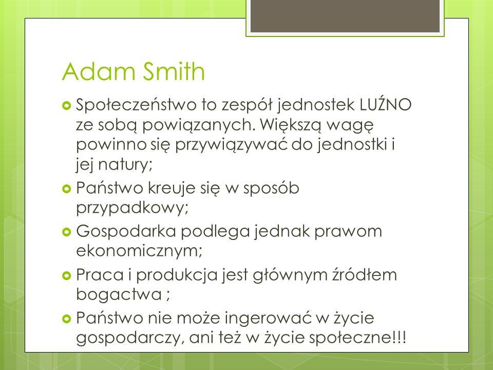 Adam Smith Społeczeństwo to zespół jednostek LUŹNO ze sobą powiązanych.