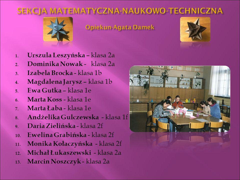 1.Urszula Leszyńska – klasa 2a 2. Dominika Nowak - klasa 2a 3.