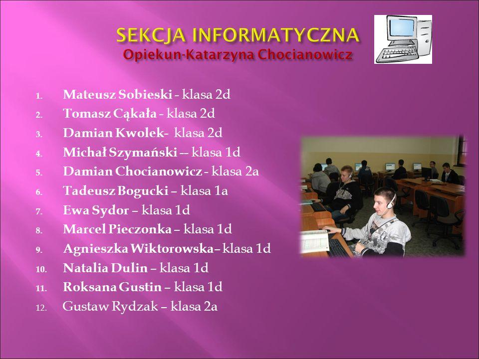 1. Mateusz Sobieski - klasa 2d 2. Tomasz Cąkała - klasa 2d 3.