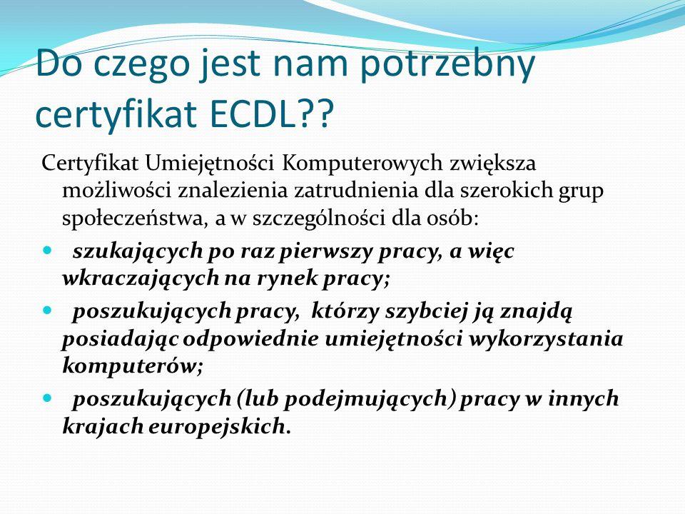 Wnioski Warto zrobić certyfikat ECDL ponieważ: Certyfikat ECDL zachowuje swoją ważność bezterminowo.