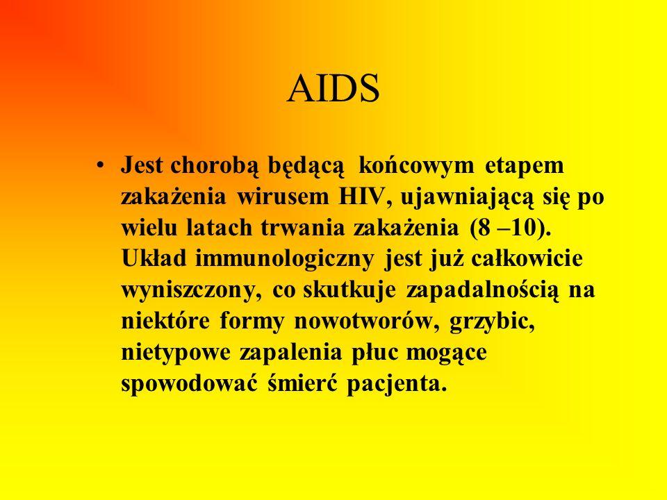 AIDS Jest chorobą będącą końcowym etapem zakażenia wirusem HIV, ujawniającą się po wielu latach trwania zakażenia (8 –10). Układ immunologiczny jest j