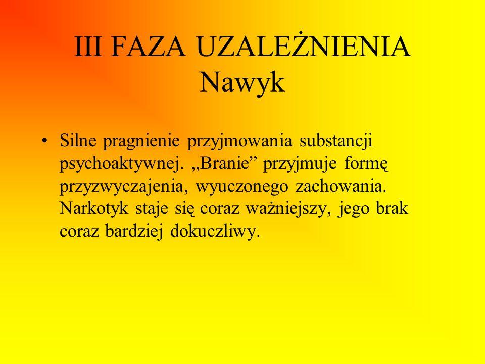 III FAZA UZALEŻNIENIA Nawyk Silne pragnienie przyjmowania substancji psychoaktywnej. Branie przyjmuje formę przyzwyczajenia, wyuczonego zachowania. Na
