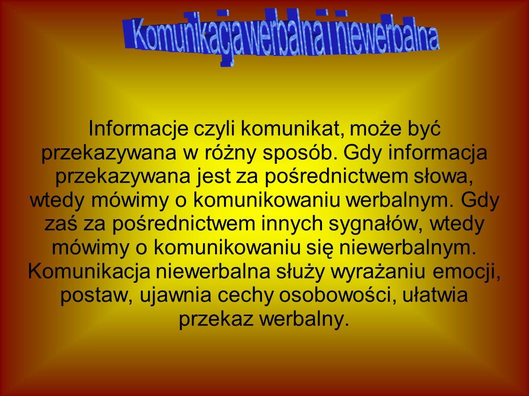 Informacje czyli komunikat, może być przekazywana w różny sposób. Gdy informacja przekazywana jest za pośrednictwem słowa, wtedy mówimy o komunikowani