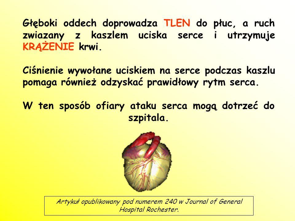 Głęboki oddech doprowadza TLEN do płuc, a ruch zwiazany z kaszlem uciska serce i utrzymuje KRĄŻENIE krwi.