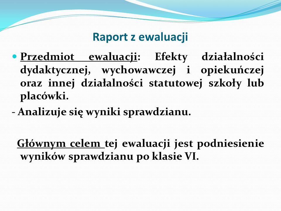 Raport z ewaluacji Przedmiot ewaluacji: Efekty działalności dydaktycznej, wychowawczej i opiekuńczej oraz innej działalności statutowej szkoły lub pla
