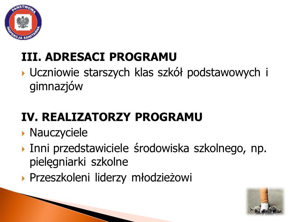 III. ADRESACI PROGRAMU Uczniowie starszych klas szkół podstawowych i gimnazjów IV.