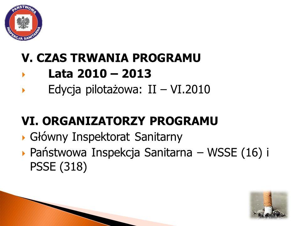 V. CZAS TRWANIA PROGRAMU Lata 2010 – 2013 Edycja pilotażowa: II – VI.2010 VI. ORGANIZATORZY PROGRAMU Główny Inspektorat Sanitarny Państwowa Inspekcja