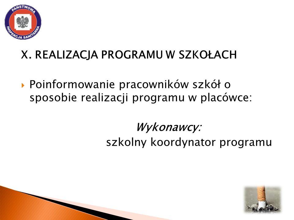 X. REALIZACJA PROGRAMU W SZKOŁACH Poinformowanie pracowników szkół o sposobie realizacji programu w placówce: Wykonawcy: szkolny koordynator programu