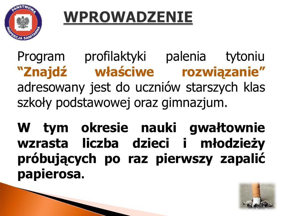 Odsetek młodzieży w Polsce rozpoczynającej palenie w wieku: 11 lat i mniej wynosi 13,8 % 12 lat wynosi 9,2 % 13 lat wynosi 9,6 % 14 lat wynosi 11,3 % 15 lat wynosi 9,7 %