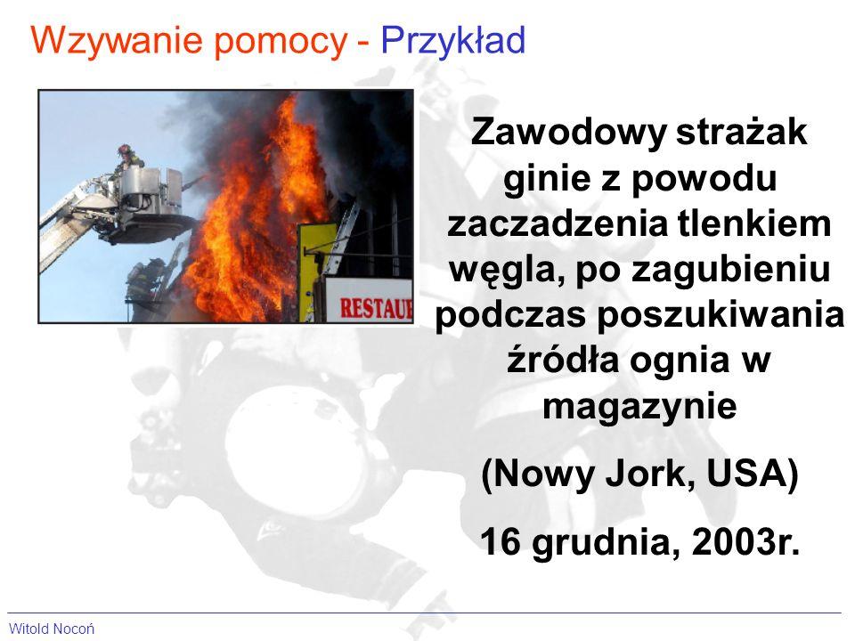 Wzywanie pomocy - Przykład Zawodowy strażak ginie z powodu zaczadzenia tlenkiem węgla, po zagubieniu podczas poszukiwania źródła ognia w magazynie (No