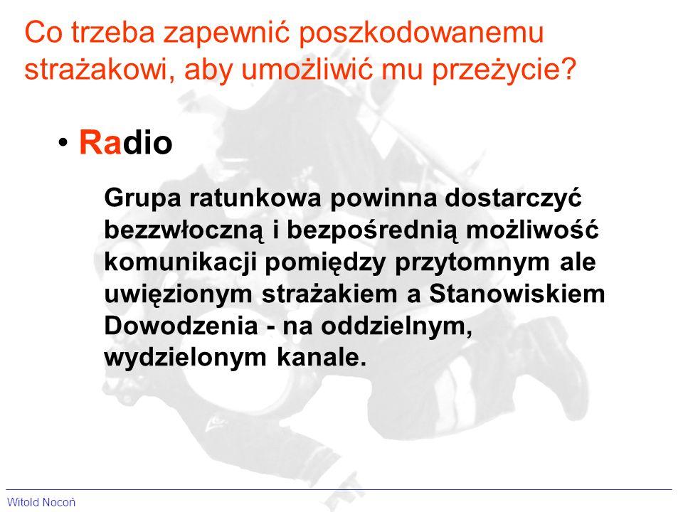Radio Grupa ratunkowa powinna dostarczyć bezzwłoczną i bezpośrednią możliwość komunikacji pomiędzy przytomnym ale uwięzionym strażakiem a Stanowiskiem