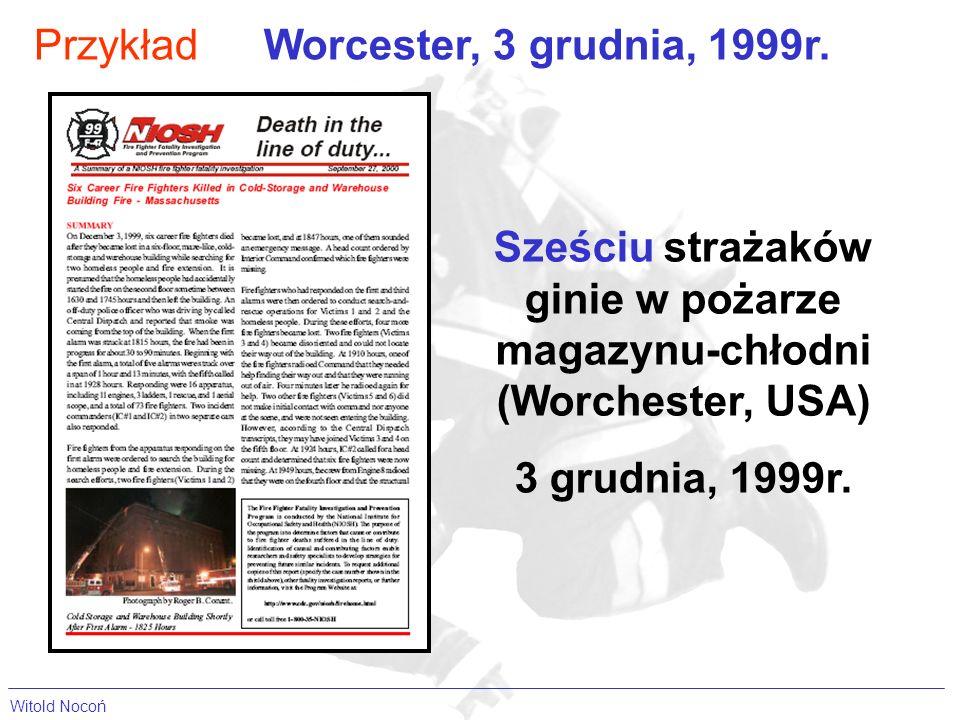 PrzykładWorcester, 3 grudnia, 1999r. Sześciu strażaków ginie w pożarze magazynu-chłodni (Worchester, USA) 3 grudnia, 1999r.