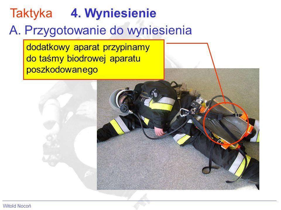 Taktyka4. Wyniesienie A. Przygotowanie do wyniesienia dodatkowy aparat przypinamy do taśmy biodrowej aparatu poszkodowanego Witold Nocoń