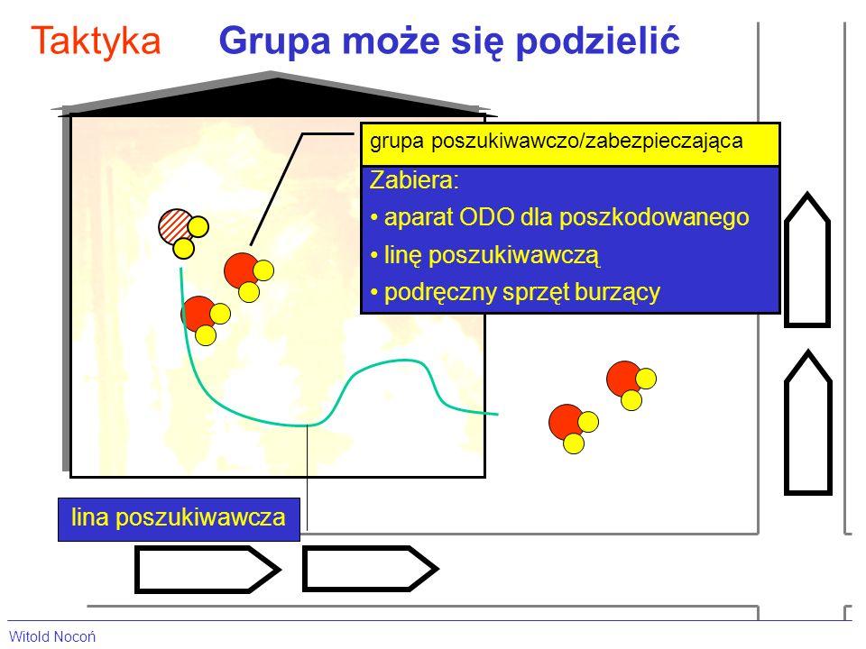 Grupa może się podzielićTaktyka grupa poszukiwawczo/zabezpieczająca Zabiera: aparat ODO dla poszkodowanego linę poszukiwawczą podręczny sprzęt burzący