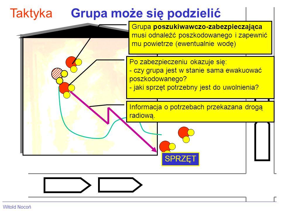 Grupa może się podzielićTaktyka Grupa poszukiwawczo-zabezpieczająca musi odnaleźć poszkodowanego i zapewnić mu powietrze (ewentualnie wodę) SPRZĘT Po zabezpieczeniu okazuje się: - czy grupa jest w stanie sama ewakuować poszkodowanego.