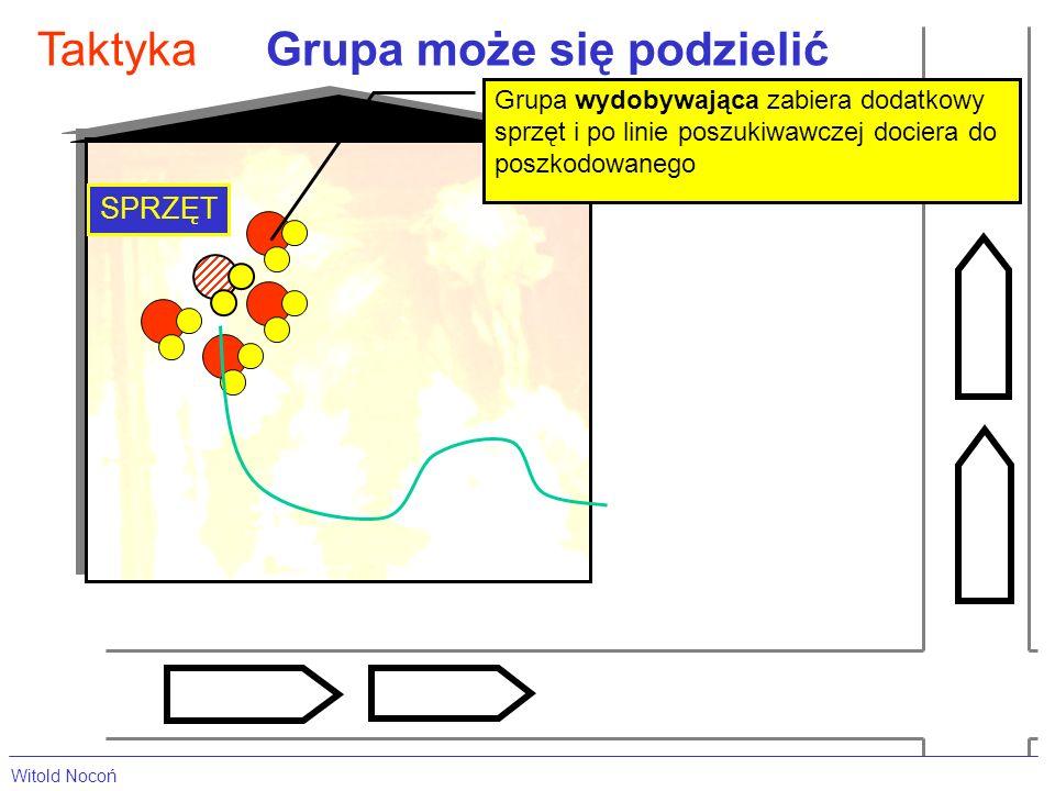 Grupa może się podzielićTaktyka SPRZĘT Grupa wydobywająca zabiera dodatkowy sprzęt i po linie poszukiwawczej dociera do poszkodowanego Witold Nocoń