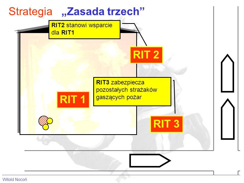 Witold Nocoń StrategiaZasada trzech RIT 1 RIT2 stanowi wsparcie dla RIT1 RIT 2 RIT 3 RIT3 zabezpiecza pozostałych strażaków gaszących pożar