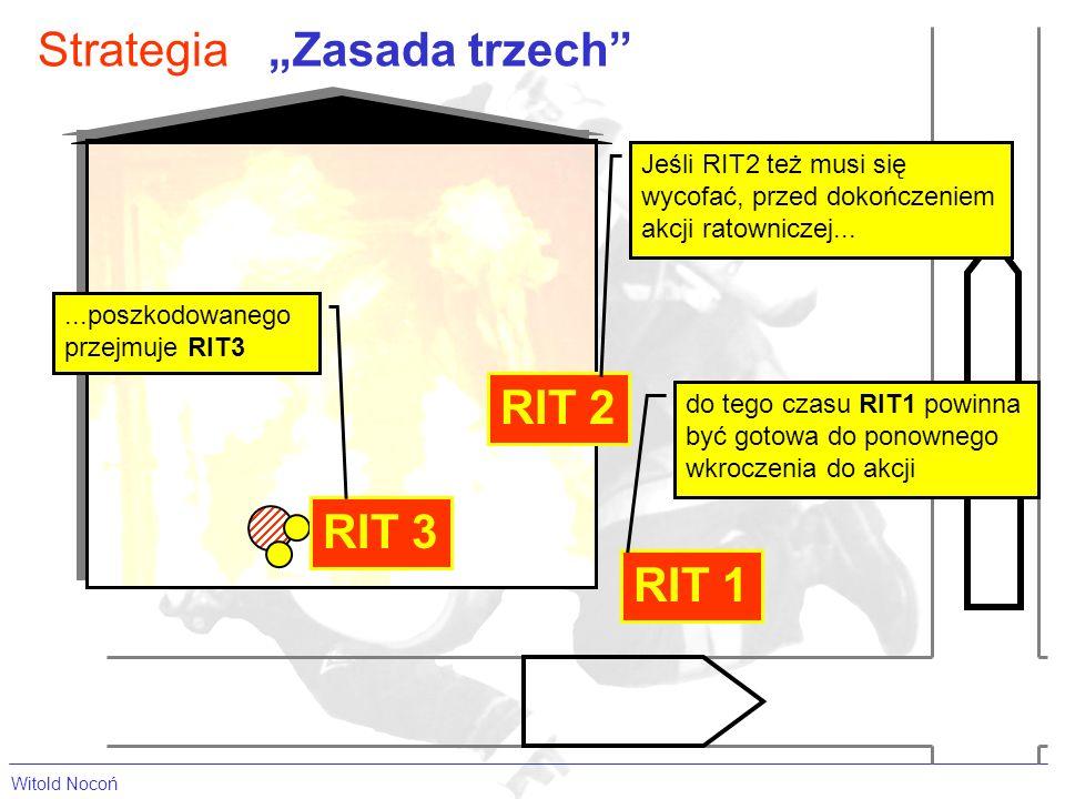 Witold Nocoń StrategiaZasada trzech RIT 1 RIT 2 RIT 3 Jeśli RIT2 też musi się wycofać, przed dokończeniem akcji ratowniczej......poszkodowanego przejmuje RIT3 do tego czasu RIT1 powinna być gotowa do ponownego wkroczenia do akcji